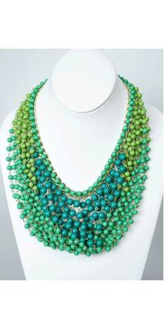 Vestique Bombay Bead Necklace in green