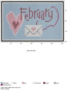 February X-stitch sign Plastic Canvas Christmas, Plastic Canvas Crafts, Plastic Canvas Patterns, Cross Stitch Heart, Counted Cross Stitch Patterns, Canvas Signs, Wall Canvas, Crochet Cross, Tissue Box Covers
