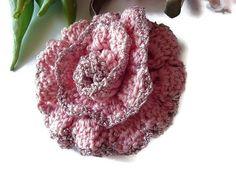Crocheted Rose Brooch  #Crochet #flower #brooch Pink Rose