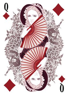 The Count of Monte Cristo Playing Cards - Madame Danglars as the Queen of Diamonds - playing cards, art, collectors, design, illustration, card, game