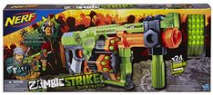 Nerf Zombie Strike Doominator Blaster - Eradicate entire hordes of zombies at one time with this hardcore Zombie Strike Doominator blaster! The blaster's 4 flipping drums hold 6 Zombie Strike darts apiece and they rotate as you fire so you can fire up to 24 darts without reloading. Load up all your drums with the included 24 Zombie Str...