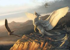 The Gryphon's Call 8x10 Gryphon Fantasy art print by featherdust