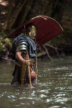 Roman soldier crossing a river