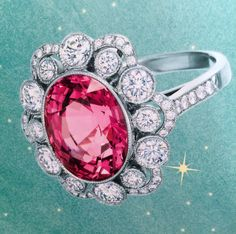 Tiffany & Co. Pink spinel ring with platinum and diamonds
