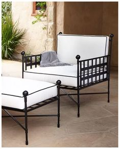 Black and White outdoor patio furniture with Black steel frame, White Cushions and Black Piping. Tuxedo club chair. Get this look at Amalfi Living