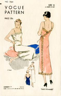 vintage lingerie sewing pattern lace wrap dress slip negligee bust 34 Vogue 7041 repro reproduction by LadyMarloweStudios on Etsy Lingerie Vintage, Sewing Lingerie, Vintage Outfits, Vintage Dresses, Vintage Fashion, 1930s Fashion, Fashion Fashion, Motif Vintage, Vintage Dress Patterns