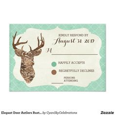 Elegant Deer Antlers Rustic Country Wedding RSVP 3.5x5 Paper Invitation Card #deer #antlers #rustic #country #wedding #turquoise #woodland #woodsy #natural #nature