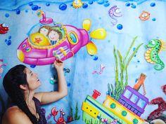 """Mural submarino terminado y entregado 😪cansada pero satisfecha y feliz ☺😍💖 Pronto estará el tutorial en YouTube ☺🎨paso a pasohttps://m.facebook.com/AmorettaIdeasCreativas/ https://m.facebook.com/AmorettaIdeasCreativas/ #arte #pinturabcm #grannoche #acuario #fomi #gomaeva #microporoso #foami #amoralarte #youtube #pasoapaso Recuerda incluir pinit.js una vez (y solo una) por página. <script async defer src=""""//assets.pinterest.com/js/pinit.js""""></script>"""