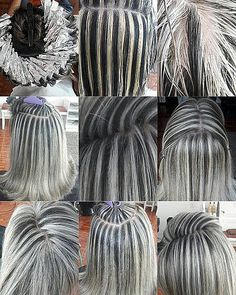 Making Bold Highlights Making Bold Highlights Purple Grey Hair, Grey Hair Wig, Short Grey Hair, Lace Hair, Light Purple, Pelo Color Plata, Baliage Hair, Gray Hair Highlights, Chunky Highlights