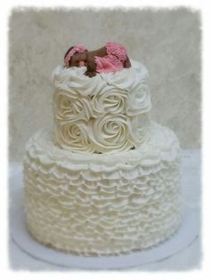 Ruffles and Roses Baby Shower Cake