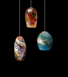 Blown glass pendant lights by Kelly Howard are now available at DragonFire Gallery in Cannon Beach, Oregon.