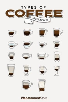 From americano to cafe au lait, we break down the top 18 types of coffee drinks and how to make them! Download our infographic for a printable chart!