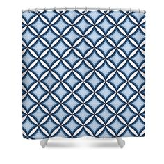Blue Diamonds #ShowerCurtain by Sharon Norman #homedecor