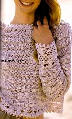 Воздушный летний пуловер   http://mslanavi.com/2014/07/vozdushnyj-letnij-pulover-so-spushhennymi-petlyami/