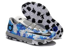 "White Grey with Blue Colors Mens Nike KD 6 ""Air Force"" Basektball Shoes"