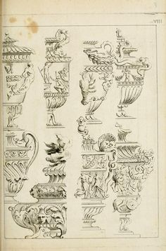 Livre de fragments d'architectures, recüeilis e. Monuments, Classical Realism, Antique Restoration, Carving Designs, Rome, Background Vintage, Garden Ornaments, Gravure, Leaf Design