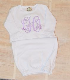 baby gowns  monogram baby  baby gown  by emilyquinndesign on Etsy
