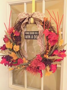 """""""Ring Door Bell, Win a Dog""""!  DIY Fall Wreath Tutorial on the blog - Starting Out in Style www.startingoutinstyle.com  #DIY #Fall #Wreath #Decoratingonabudget #homemade #decor"""