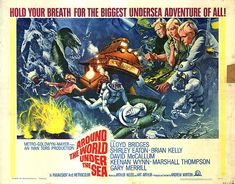 Around the World Under the Sea movie poster by Frank McCarthy! Terrific, highly recommended Ivan Tors motion picture. Comic Book adaptation published by Dell Comics.