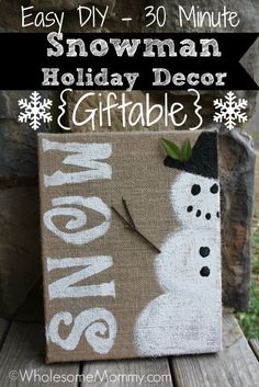 Simple DIY Snowman Holiday Decor Craft and Giftable Snowman Crafts, Christmas Projects, Decor Crafts, Holiday Crafts, Holiday Fun, Festive, Noel Christmas, Winter Christmas, Christmas Stuff