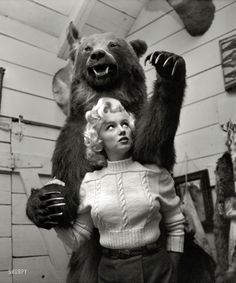 Marilyn Monroe and friend in Alberta, Canada, in 1953 for the filming of River of No Return. Photo by John Vachon for Look magazine.
