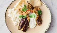 Recipe of the week: Jamie Oliver's stuffed curried aubergines Vegetarian Curry, Vegetarian Recipes, Vegetarian Lifestyle, Vegan Meals, Aubergine Recipe, A Food, Food And Drink, Sweet Chilli Sauce, Preserved Lemons