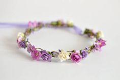 Variety purple flower crown Hair wreath Floral crown Flower