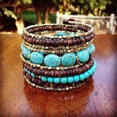Beaded Boho Wrap Bracelet Gold Turquoise Bracelet by jbyjosephine