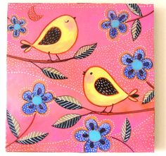 Love Birds  8 by 8 inches Wood Block Art Print  Whimsical Folk Art from my  original mixed media Painting mounted on wood. Collage.