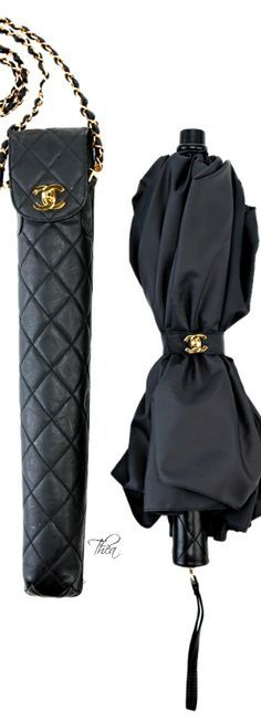 Chanel Black Umbrella with Quilted Carry Bag