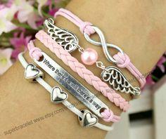 Love the bracelet  pink pearl  infinity charm by superbracelet, $6.99