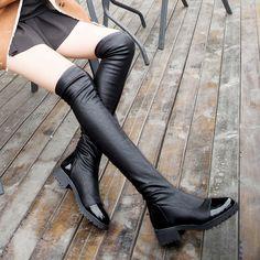Stretch stof vrouwen platform hakken dij hoge laarzen sexy mode vierkante is over de knie laarzen zwart 3#d50 in     Faux Suede Winter Women Thick Heel Ankle Boots Lace Up Short Booties High Heels Boots Pump Shoes  3#D50U van vrouwen laarzen op AliExpress.com | Alibaba Groep