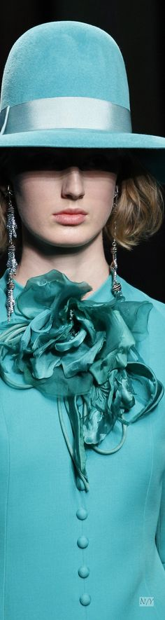 Turquoise Gucci hat and jacket with huge flower  - Fall /2016 Ready to Wear Details