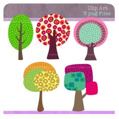 Instant Download, Tree Clip Art,  Digital File for card making, Clipart, digital scrapbooking, invitations and paper products, Trees, Sketch...