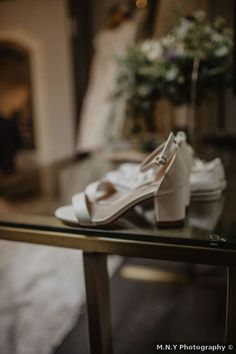 Wedding shoes ideas - heels, white, silver, open toe, sandals {M.N.Y Photography}