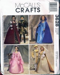 Barbie & Ken Doll Renaissance Clothes Sewing Pattern - Historical Doll Dress - Doll Cape With Hood - Doll Hat Pattern - McCalls 3628 Barbie Sewing Patterns, Mccalls Patterns, Doll Clothes Patterns, Clothing Patterns, Barbie Und Ken, Barbie Doll, Renaissance Clothing, Ken Doll, Doll Costume