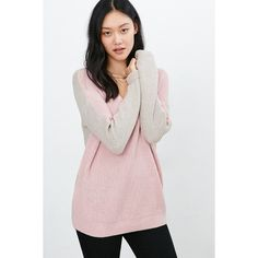 BDG Billie Colorblock V-Neck Sweater featuring polyvore, fashion, clothing, tops, sweaters, pink, v neck sweater, drape sweater, slouchy oversized sweater, slouch sweater and pink v neck sweater