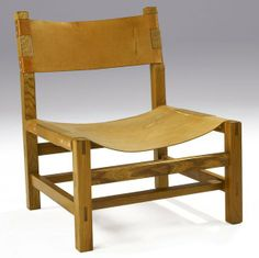 Pierre Chapo; Wood and Leather Lounge Chair, 1950s.