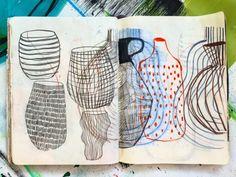 MILLE DØRGE Artist Journal, Artist Sketchbook, Sketchbook Pages, Art Journal Pages, Art Journals, Moleskine, Observational Drawing, Caran D'ache, Creative Journal