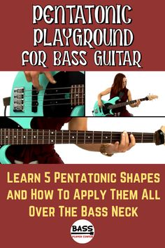 This lesson teaches 5 essential bass guitar pentatonic patterns and how to use them all over the bass neck. Learn how to apply these shapes for grooving, fills and solos. Bass Guitar Scales, Learn Guitar Chords, Bass Guitar Lessons, Guitar Lessons For Beginners, Guitar Songs, Guitar Tabs, Bass Guitars, Guitar Pedals, Acoustic Guitar