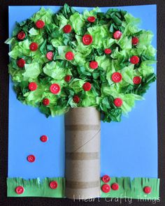 It's Apple Pickin' Season!!! Try this neat apple tree craft using tissue paper, buttons, toilet paper rolls. #SimplyAdorable