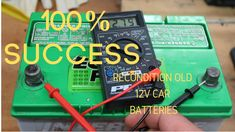 "How To Recondition A Battery How To Recondition A Battery ""Bringing Dead Batteries Back To Li. Batterie 12 Volts, Battery Hacks, Ryobi Battery, Motorcycle Battery, Golf Cart Batteries, Lead Acid Battery, Youtube, Laptop, Epsom Salt"