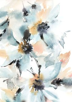 Abstract flowers watercolor painting Watercolour by Sophie Rodionov Abstract Flowers, Watercolor Flowers, Watercolor Print, Watercolour Painting, Flower Wallpaper, Paintings For Sale, Flower Prints, Lovers Art, Artist