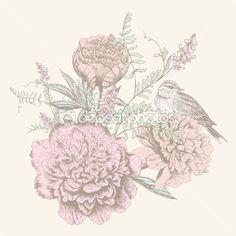 Card with birdand flower — Stock Illustration #32373879