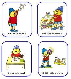 De meichenbaum methode voor het aanbrengen van structuur in de taak/werkhouding. Zelf gemaakt met plaatjes van Pompom uit de methode Schatkist. I Love School, Pre School, Science Classroom, School Classroom, Visible Learning, Coaching, Special Kids, School Items, Skills To Learn