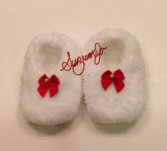 Baby Girl Bootie Fleece Soft Minky Red White Christmas by Sunjunki, $19.00