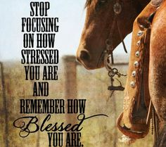 Stop focusing on how stressed you are and remember how BLESSED you are~ Amen thank You Jesus Rodeo Quotes, Cowboy Quotes, Cowgirl Quote, Equestrian Quotes, Equine Quotes, Farm Quotes, True Quotes, Great Quotes, Quotes To Live By