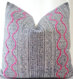 Hmong Textile Pillow Cover Vintage Ethnic Indigo Batik Pink Handmade by Boho Pillow #bohopillow