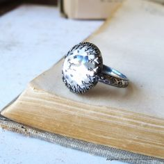 Cocktail Ring Vintage Rose Cut Cabochon Crystal in sterling silver on Etsy, $64.00