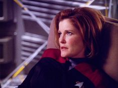 """gracefullyclumsy: """" Groggy, sleep-tousled Janeway, is one of my favorites. Robert Beltran, Cast Images, Captain Janeway, Kate Mulgrew, Star Trek Voyager, Her Smile, Actresses, Stars, Face"""